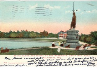 "Photo: The statue of William Wallace on the edge of the reservoir was erected as a replica of one in Stirling, Scotland. The inscription reads ""Wallace, Patriot and Martyr for Scottish Liberty, 1305."" (1907 postcard)"
