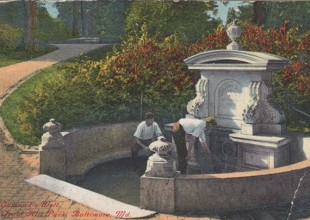 Photo: Park visitors could draw fresh spring water from Edmund's Well. (1915 postcard)