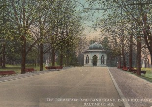 Photo: The Grand Promenade led to the Park's Bandstand, which featured Moorish architecture. It no longer stands. (1912 postcard)
