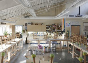 Photo: In this classroom, fourth and fifth graders study painting, drawing, printmaking, ceramics, and other media.