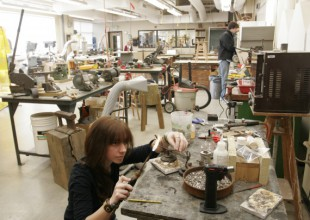 Photo: Upper School students who take jewelry learn to cut, shape, solder, and cast non-ferrous metals, and to set stones.