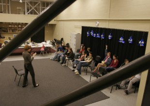 Photo: Middle School students learn the art of acting in the Phyllis Goldstein Rehearsal Studio.