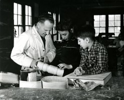 Harrison Tompkins with Students in Shop 1945