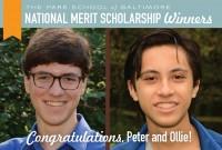 Featured News: Peter Luljak '19 and Ollie Thakar '19 Win National Merit Scholarships