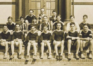 Photo: 1932: Mallonee and his soccer team sit on the entrance steps at Liberty Heights.
