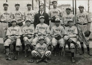 """Photo: 1914: Batters and fielders had to play around natural hazards, including a deep gully, poison ivy, and """"vicious dogs and irate housewives…."""""""