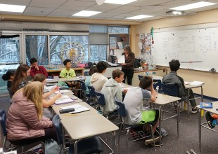 Photo: The classroom environment is characterized by an inquiring atmosphere requiring student interaction, investigation, and communication. Individual as well as small group work and whole-class discussions are planned for most classes.