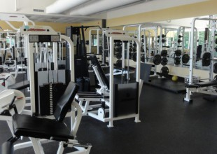Photo: The Lyn P. Meyerhoff Fitness Center, which overlooks the pond, provides equipment for aerobic and strength training.