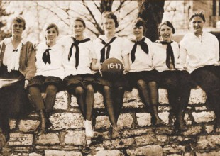 """Photo: 1917: The 1916-17 girls' basketball team began its season playing on a dirt floor, but moved mid-season to a """"real gym"""" at the new campus."""