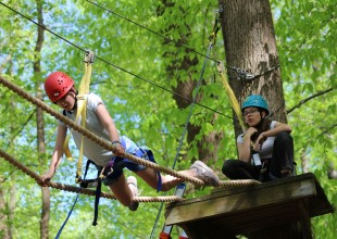 Photo: A major component of the Appalachian Challenge program is the initiative course (sometimes called a ropes or high and low confidence course), and is likely the only one in the country originally constructed, maintained, and taught by students.