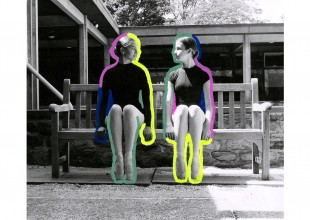 """Photo: """"Mirror Image"""" - Darkroom photography, gelatin silver print, paint pens by Julia Strouse"""