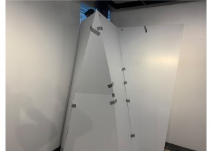 """Photo: """"The Wall: Detail view of gallery installation wall in progress"""" - Wall built from model by Seth Hudes"""