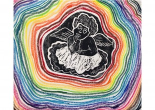 """Photo: """"A Cherub For the Now"""" - Oil pastel and black ink by Sonee Goles"""