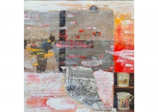 """Photo: """"Coney Island"""" - Collage, acrylic paint, wood by Sonee Goles"""