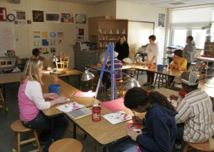 Photo: In the Middle School art curriculum, students  study 2-D and 3-D art and art history.