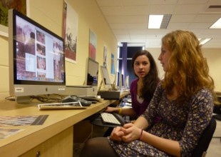 Photo: Middle and Upper School students use the Leroy M. Merritt Digital Imaging Lab for graphic design, digital photography, and film editing.