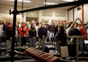 Photo: Parksingers, the Upper School chorus, practices in the Upper School Music Room.