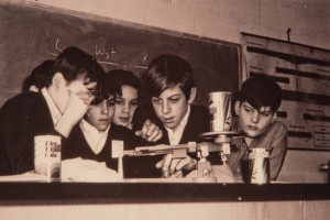 Jr. High Students weighing soda cans in a science classroom. c. 1960